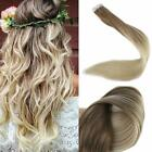 Glue Tape in Hair Extensions Blonde Ombre Color Remy Huma...