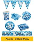 AGE 30/30th Birthday BLUE SPARKLE Birthday Party Range - Tableware Banners Decs