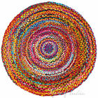 4, 5 Ft Round Colorful Woven Chindi Braided Area Decorative Rag Rug Indian Bohem