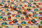 Double Sided Supersoft Cuddlesoft Fleece Fabric Material - BEIGE OWLS