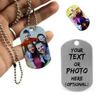 Army Style Metal Custom Photo Dog Pet Tag Engraved Necklace Chain Pendant Gift
