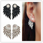 Punk Gothic Angel Wings Crystal Rhinestone Double Sided Drop Ear Stud Earrings