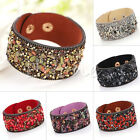Hot Fashion Leather Wrap Wristband Cuff Stone Crystal Rhinestone Bracelet Bangle