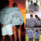Couple Matching Hoodies King and Queen Print Casual Pullover Sweatshirt Jumper
