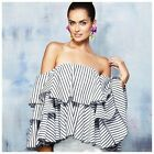 D15 Stripe Off The Shoulder Flared Side Ruffle Sleeve Blouse Top