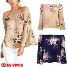UK Womens Summer Floral Off Shoulder Shirts Ladies Loose Casual Tops Blouses