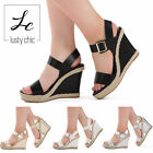 WOMENS SLINGBACK WEDGE HIGH HEEL SANDAL LADIES SUMMER PLATFORM SHOES SIZE UK 3-8