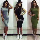 New Fashion Women Casual O-Neck Short Sleeve Solid Elastic Pullover Dress S0BZ