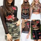 Women Sexy Sheer Mesh Floral Embroidery Long Sleeve T Shirt Crop Top N98B