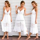 Women Casual Sleeveless Lace Patchwork V Neck Sexy Cami Summer Beach Dress N98B