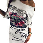 Womens Long Sleeves Floral Print White T-shirt Casual Dress S M L XL
