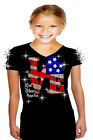 4th of July Girls 10~12 Bling Bling Rhinestones T-Shirt Ripped Cut Out LOVE Flag