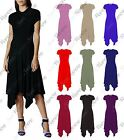 New Womens Short Sleeve Plain Long Hanky Hem Flared Swing Dress Summer Midi Top