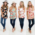 Hot Stylish Women Tops Floral Print  Cold Shoulder Female Casual Blouse t shirt