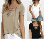 Fashion Womens V-Neck Lace-up Tie Short Sleeve T-Shirt Casual Loose Tops Blouse