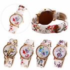 Fashion Geneva Flower Leather Wrist WATCH Women Analog Quartz Wrist Watches