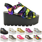 WOMENS LADIES CHUNKY SOLE GLADIATOR SUMMER WEDGES PLATFORM SANDALS SHOES SIZE