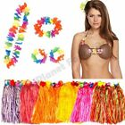 HAWAIIAN HULA SKIRT LEI NECKLACE HEADBAND WRISTBANDS COCONUT BRA COSTUME LUAU