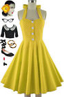 50s Style PLUS SIZE Miss Mabel YELLOW POLKA DOT Print Pinup HALTER Sun Dress