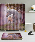Mythology Unicorns Waterproof Fabric Shower Curtain Liner Bathrooom Mat Set Hook