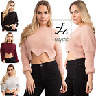 Womens Ladies Crop Top Knitted Jumper Long Sleeve Casual Tops Size 6 8 10 12