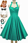 50s Style PLUSSZ Eleanor Paige PINUP Jade Polka Dots SWEETHEART HALTER Sun Dress