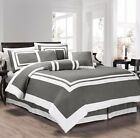 7-Piece Caprice Square Pattern Hotel Comforter Set Gray/White (4 Sizes)