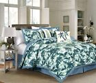6-piece Kona Tropical Palm Tree Surfboards Camouflage Bedding Comforter Set Blue