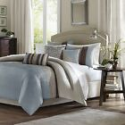 Charming 6pc Soft Blue & Brown Pleated Duvet Cover Beddin...