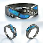Size 5-12 Blue Fire Opal Ring Wedding Band Cross Women White Gold Filled Jewelry