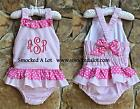 Smocked A Lot Girls Swim Suit Seersucker Pink Polka Dot 1pc Monogrammed Bow