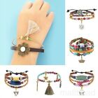 Chic Leather Bracelets Surfer Womens Mens Gift Layer Rope Wristband Brown New