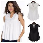 DA10 Boho Chic Flowing Babydoll Lace Front Blouse Top Black & Off White