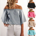 Stylish Women New- Off The Shoulder Strapless Tops Flare Sleeve Blouse Tee Shirt