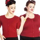 Hell Bunny Wendi Cardigan Retro Pin Up 50's Rockabilly Vintage Dark Red