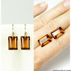 Pure 18k 14k Gold Emerald Cut Madeira Citrine Designer Earrings Hook Leverback