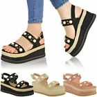 Womens Ladies Espadrille Flatforms Pearl Wedge Summer Sandals Strappy Shoes Size