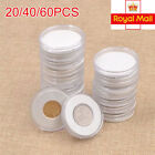 20/40/60 46mm Coin Cases Capsules Holder Applied Clear Plastic Round Storage Box