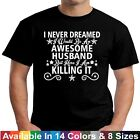 Awesome HUSBAND Funny Dad Hubby Fathers Day Birthday Christmas Gift Tee T Shirt