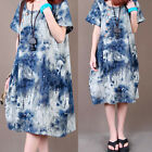 ZANZEA Boho Damen Floral Sommer Kurzarm Pockets Kaftan Long Shirt Kleid Dress