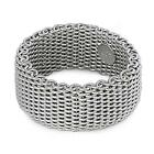 Sterling Silver Woman's Mesh Ring Wholesale Pure 925 Wide Band 10mm Sizes 5-10
