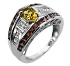 Citrine 0.81 Ct. Cocktail Ring Red Garnet 925 Sterling Silver Occasion Jewelry