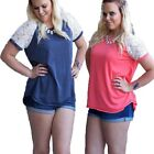 Plus Size Women's Summer Loose Lace Short Sleeve Blouse Casual Tops T-Shirt Tee