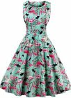Women's Floral 1950s Vintage Rockabilly Casual Coaktail Party Prom Swing Dress