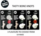 TASTY BONE TOUGH SMALL LARGE DOG PUPPY CHEW TOY KNOT BONE TREAT 3 FLAVOURS