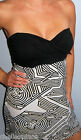 New FOX RACING RIDERS Black & White PADDED BUST Tube Dress S M L XL