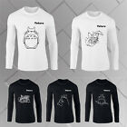 Men's Anime Movies Totoro Printed Cotton Fit Long Sleeve T-shirt Tops Crew Neck