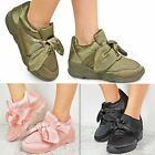 Womens Ladies Satin Bow Sneakers Trainer Khaki Pink Athletic Designer Celeb Size