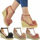 Womens Ladies Mid High Heel Wedge Peeptoe Pom Pom T-Bar Espadrilles Sandals Size