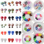 6Pairs Fashion Charm Double Girls Pearl Beads Candy Color Plug Ear Stud Earrings $2.75 USD on eBay